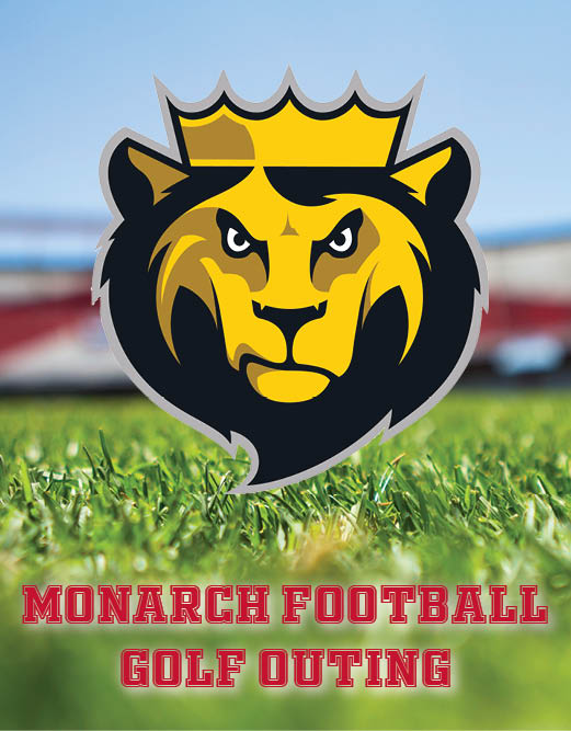 image of Leo logo over image of football field for Monarch Football Golf Outing