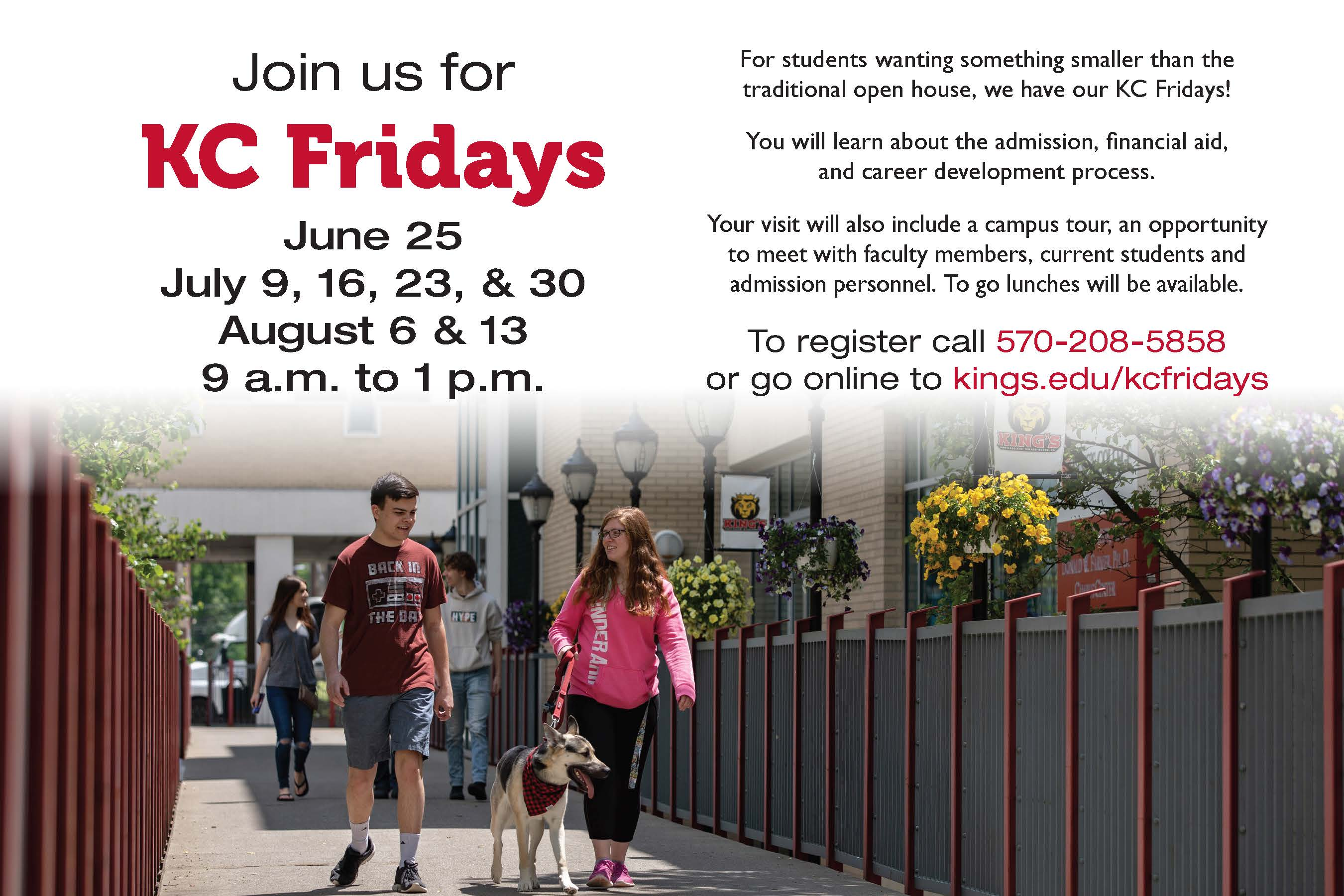 Advertisement for KC Friday program with text above a photo of students on Lanes Lane